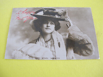 Miss Ethel Warwick Real Photograph Tucks Glamour Actress Postcard Postally used
