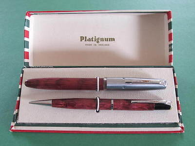 Platignum Goldtone Boxed Writing Set Fountain Pen & Propelling Pencil
