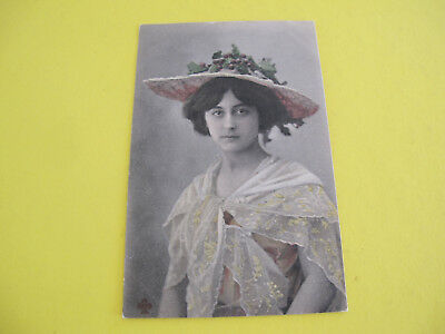 Glamour Lady with grapes on Hat Postcard