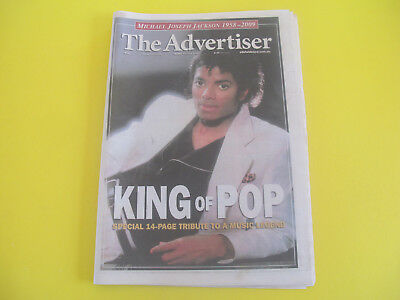 Michael Jackson Front cover of June 2009 Newspaper The Advertiser complete
