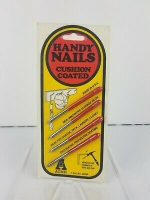 Vintage Acme Metal Goods MFG Handy Nails Cushion Coated Red Made In USA