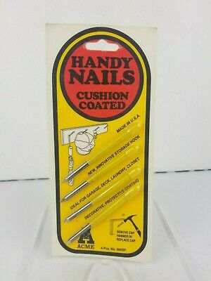 Vintage Acme Metal Goods MFG Handy Nails Cushion Coated Yellow Made In USA