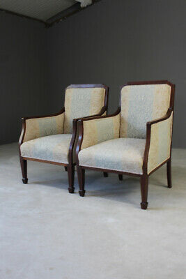 Pair Antique Edwardian Inlaid Mahogany Chairs Fireside Armchairs