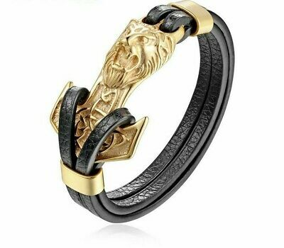 Leo Lion Bracelets Gold Anchor Shackles Black Leather for Men Fashion Jewelry