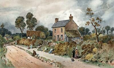COTTAGES IN LANDSCAPE Small Victorian Watercolour Painting 19TH CENTURY