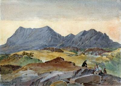 NANTLLE VALLEY GWYNEDD WALES Small Victorian Watercolour Painting 19TH CENTURY