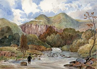 MOUNTAIN & LAKE POSSIBLY WALES Small Victorian Watercolour Painting 19TH CENTURY