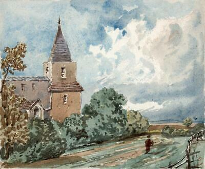 HERSTMONCEUX CHURCH SUSSEX Small Victorian Watercolour Painting 19TH CENTURY