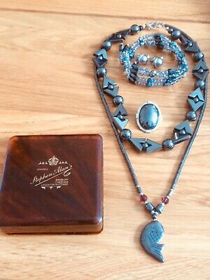 job lot of jewellery - Haematite necklaces , brooch,signed Monet earrings