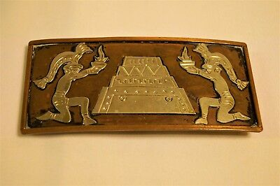 Antique Aztec Mexico Copper and Sterling Silver Ladies Belt Buckle