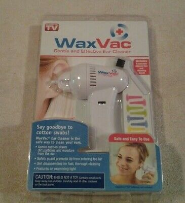 Wax Vac a Gentle and Effective Ear Cleaner  8 silicone tips & cleaning brush NIP