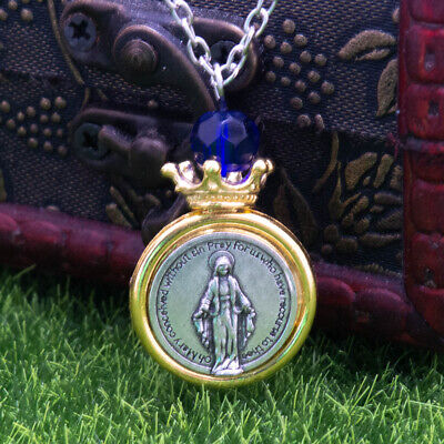 "Two Tone Miraculous Medal Virgin Mary Crown Pendant Necklace 20"" Chain Blue Bead"