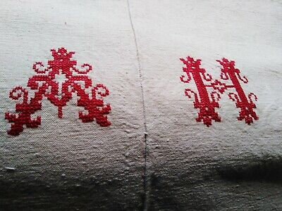 Antique French  Unused Unbleached Handwoven Monogrammed Centre Seam Metis Sheet.