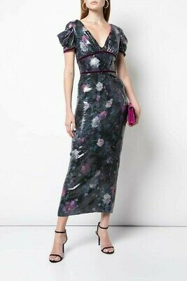 4629b0a18b $795 NEW MARCHESA Notte Off the Shoulder Sequined Peony Midi Dress ...