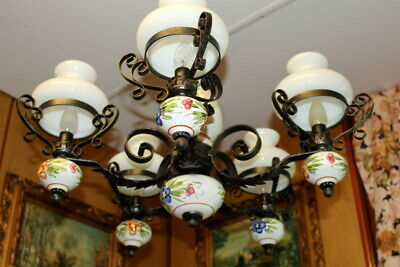 Original Vintage French 5 arm Porcelain Chandeliers hand painted lovely colors