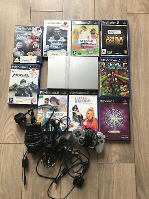 Sony PS2 Play Station 2 Slim Console 9 games 1 Controller And Camera Scph-75003