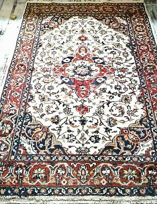 Vintage Hand Knotted Oriental Persian WOOL Rug Herati Nain Medallion 240x165cm