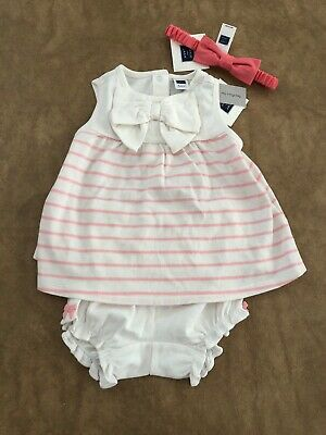 d7bd1c76c8ffd NWT Janie and Jack baby girl SUMMER 3-piece pink striped dress bow SET 6