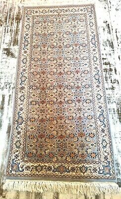 Fine Old FLORAL PERSIAN hand knotted wool Herati Nain RUNNER RUG 155x70cm GREY