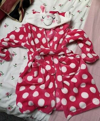 Girls Rabbit Hood Dressing Gown, Pink Spots Dots Super Soft Fleece aged 6 -7 yrs