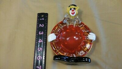 Vintage  Italian Venetian Murano Art Glass Clown Ash Tray Trinket Dish 6.75""