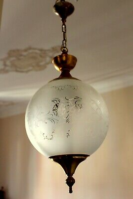 A VINTAGE FRENCH HALL GLOBE BRASS - GLASS CEILING LIGHT DESIGNED SHADE 60 cm H