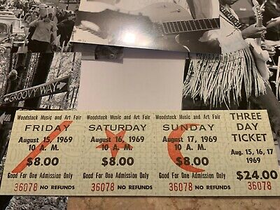 WOODSTOCK  AUTHENTIC 3 DAY 1969 TICKETS MUSIC Art Jimi Hendrix Grateful Dead TYA
