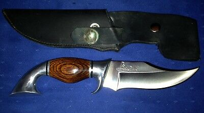 Beaver Knives Hunting Fixed Blade Knife with Black Leather Sheath - Made In USA