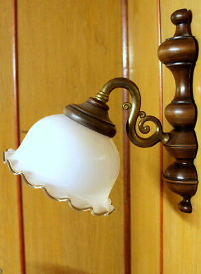 A French Vintage Single Wall Lamp Wooden  Brass And Glass Shade Light