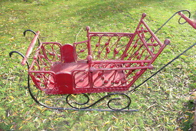 French Vintage  Santa's Sleigh Wooden and Cast Iron for Christmas Decoration