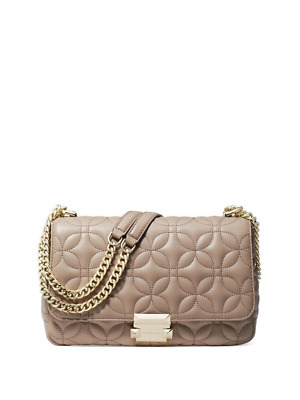 c087457db7ec NWT $328 Michael Kors Sloan Quilted Leather Large Chain Shoulder Bag Truffle