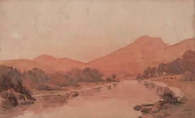 TOM ROBERTSON (1850-1947) Watercolour Painting RIVER IN MOUNTAIN LANDSCAPE c1900