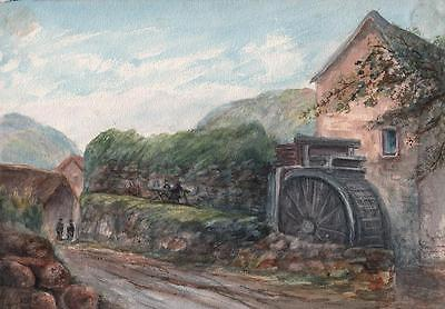 STONE MILL NEAR BUDE CORNWALL Antique Watercolour Painting c1908