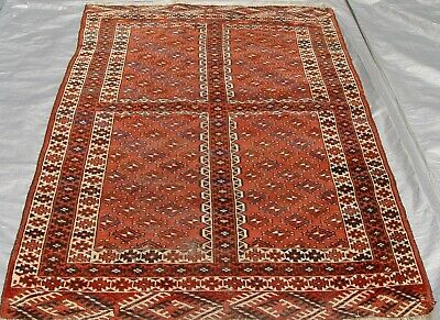 """Antique Ensi Turkmen Hand-Knotted 100% Wool Oriental Rug 4'3"""" x 6'1"""" Hand-Washed"""