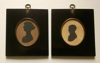 EXCELLENT PAIR EARLY VICTORIAN SILHOUETTE PORTRAITS MANNING FAMILY, LAW c. 1840