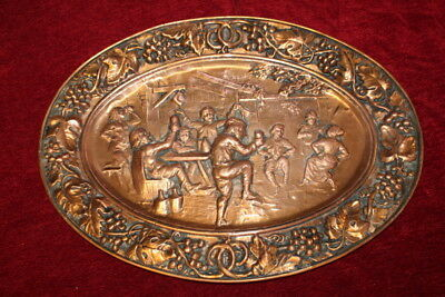 Antique French Vintage Copper Embossed Wall Plaque party people dancing  62 cm