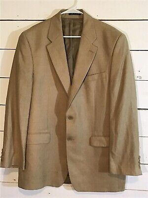 RALPH LAUREN Mens 2 Button Tan SILK WOOL LINEN Blazer Sport Coat Jacket 43L