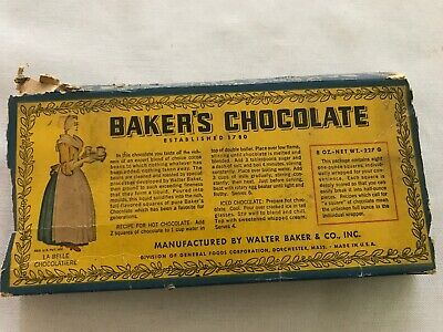 Baker's Chocolate Vintage Original Box, Very Early and rare
