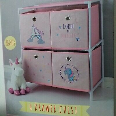 Pink 4 Drawer Chest Unicorn Storage Solution Girls Room Chest Drawer Tidy Unit