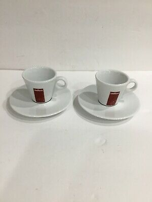 Lavazza Branded Espresso Demitasse Cup w/ Saucer Set Rare Red Logo Includes two