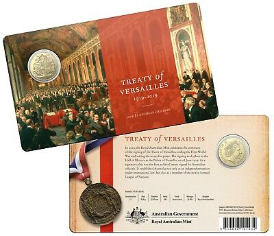 2019 Royal Australian Mint Treaty of Versailles $1 One Dollar Uncirculated Coin