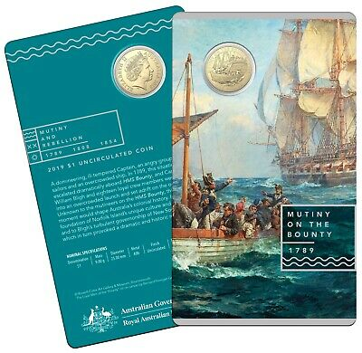 2019 Royal Australian Mint Mutiny on the Bounty $1 One Dollar Uncirculated Coin