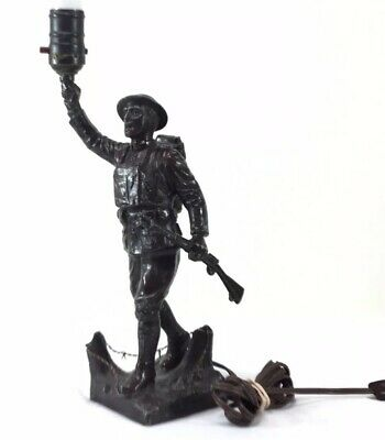 VIQUESNEY ART TABLE LAMP EXTREMELY RARE ANTIQUE WWI American Doughboy STATUE
