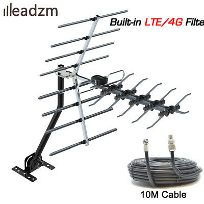 Leadzm TV Aerial 4G Filter Freeview HD Digital Install Kit 470-860MHz 10m Cable