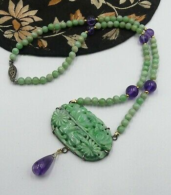 Old sterling silver clasp w jade/amethyst beads & carved jade pendant necklace