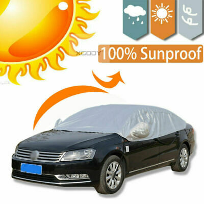 L Half Car Cover Waterproof Snow Sun UV Dust Rain Protection Covers Outdoor