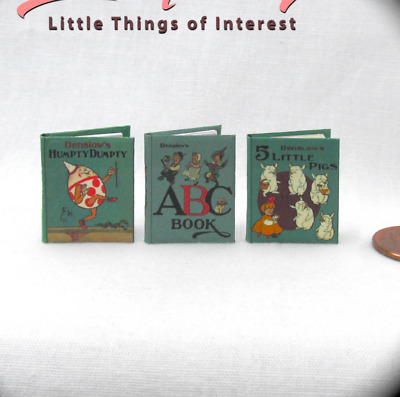 DENSLOW'S CHILDREN'S BOOKS Miniature Dollhouse 1:12 Scale Illustrated Readable