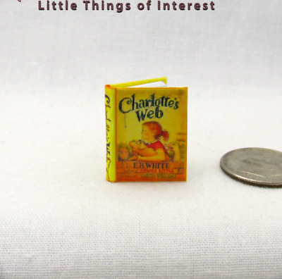 CHARLOTTE'S WEB Color Illustrated Miniature Book Dollhouse 1:12 Scale Readable