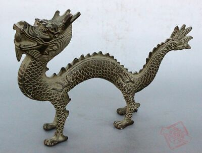 Chinese Folk fengshui old bronze Carved Dragon Lucky dragon Spit fireball statue