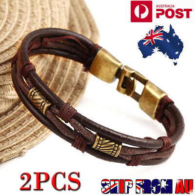 2PCS Mens Leather Bracelet Wristband Braided Rope Wrap Brown